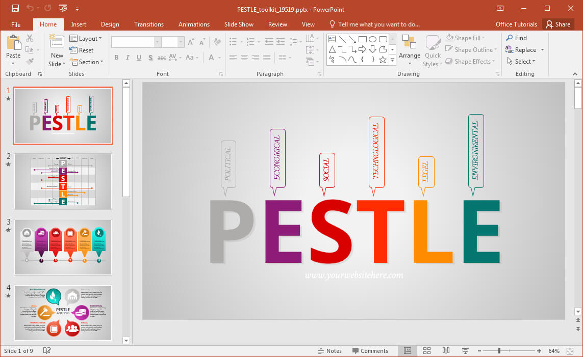 Animated Pestle Analysis Presentation Template For Powerpoint Regarding Pestel Analysis Template Word