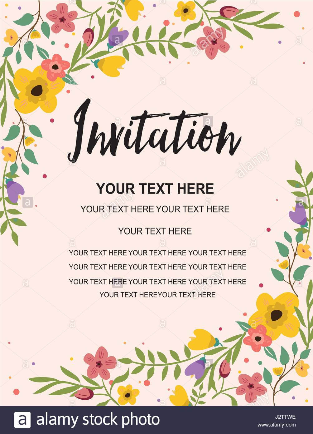 Anniversary Party Invitation Card Template. Colorful Floral With Regard To Template For Anniversary Card