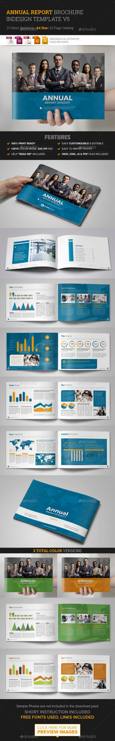 Annual Report Template Indesign Graphics, Designs & Templates With Free Indesign Report Templates