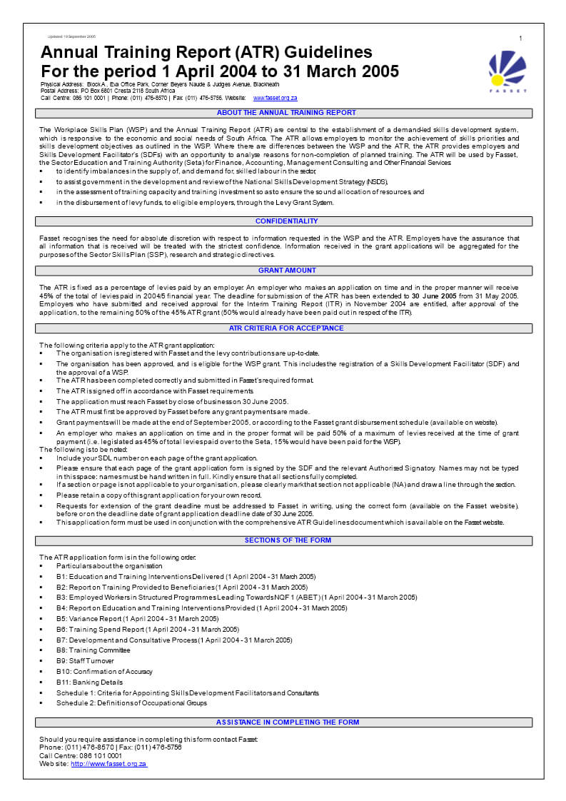 Annual Training Report (Atr) Guidelines | Templates At In Training Report Template Format
