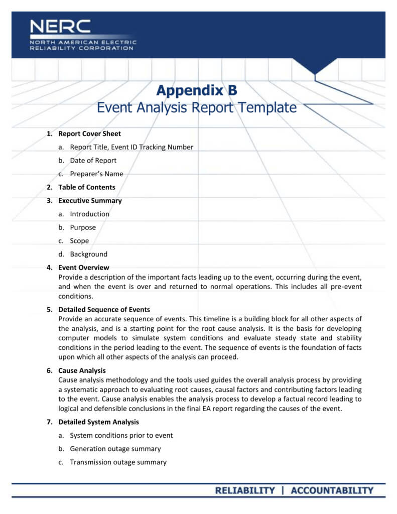 Appendix B - Event Analysis Report Template With Regard To Reliability Report Template