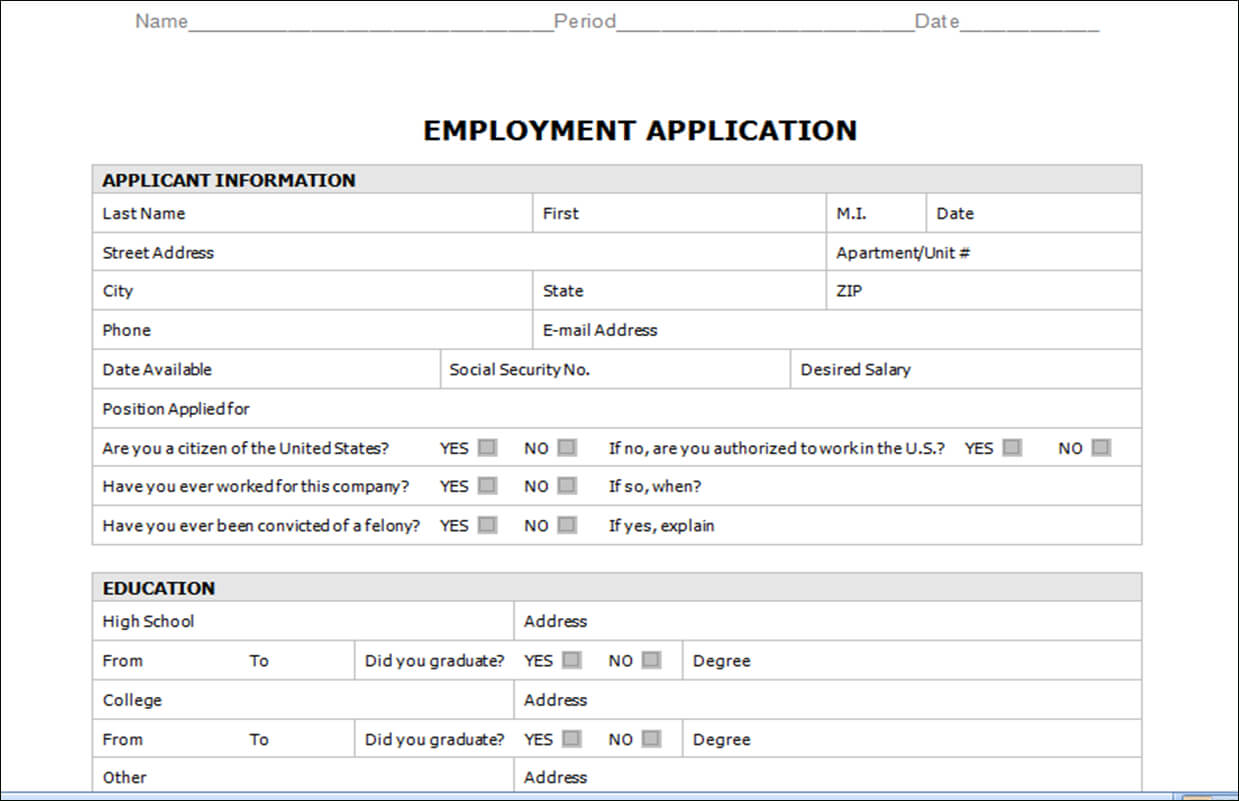Application Templates Word - Zohre.horizonconsulting.co For Employment Application Template Microsoft Word
