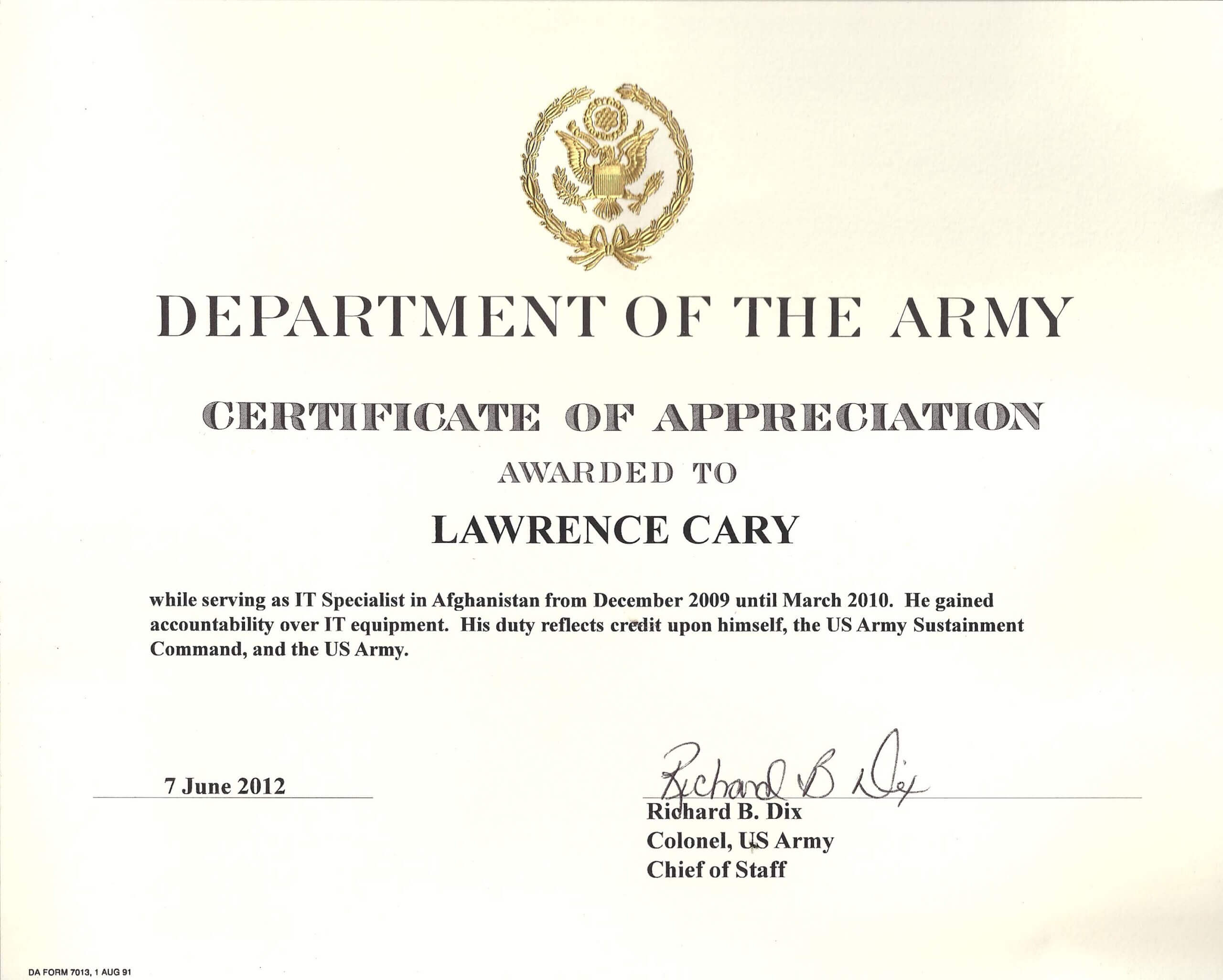 Army Certificate Of Achievement Template Within Certificate Of Achievement Army Template