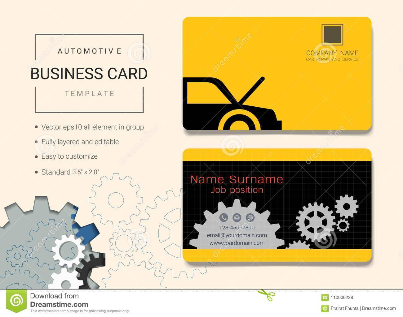 Automotive Business Card Or Name Card Template. Stock Vector With Automotive Business Card Templates
