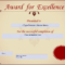 Award For Excellence Certificate | Templates At Regarding Award Of Excellence Certificate Template