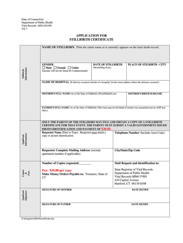 Baby Death Certificate Template - Fill Online, Printable For Baby Death Certificate Template