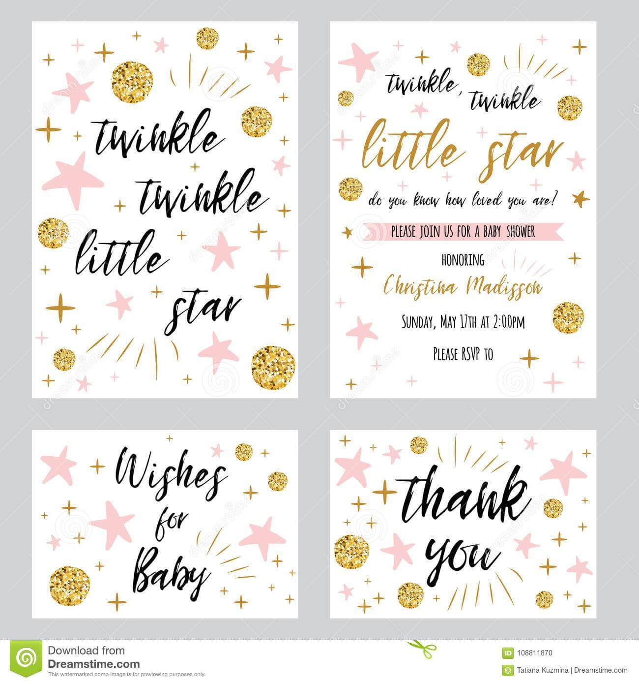 Baby Shower Girl Templates Twinkle Twinkle Little Star Text In Thank You Card Template For Baby Shower