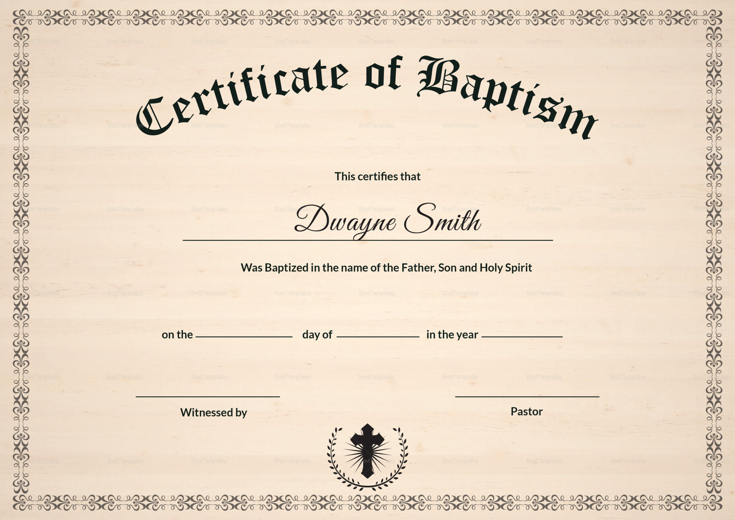 Baptism Certificate Template Download - Bolan Throughout Baptism Certificate Template Download