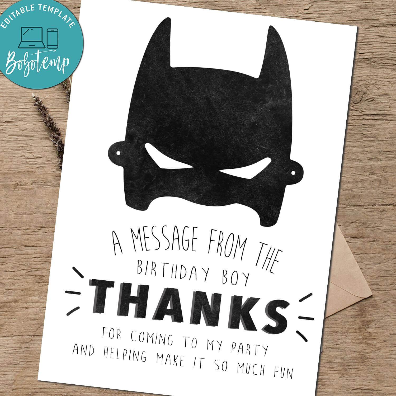 Batman Birthday Thank You Card - Superhero Thank You Card Printab Within Batman Birthday Card Template