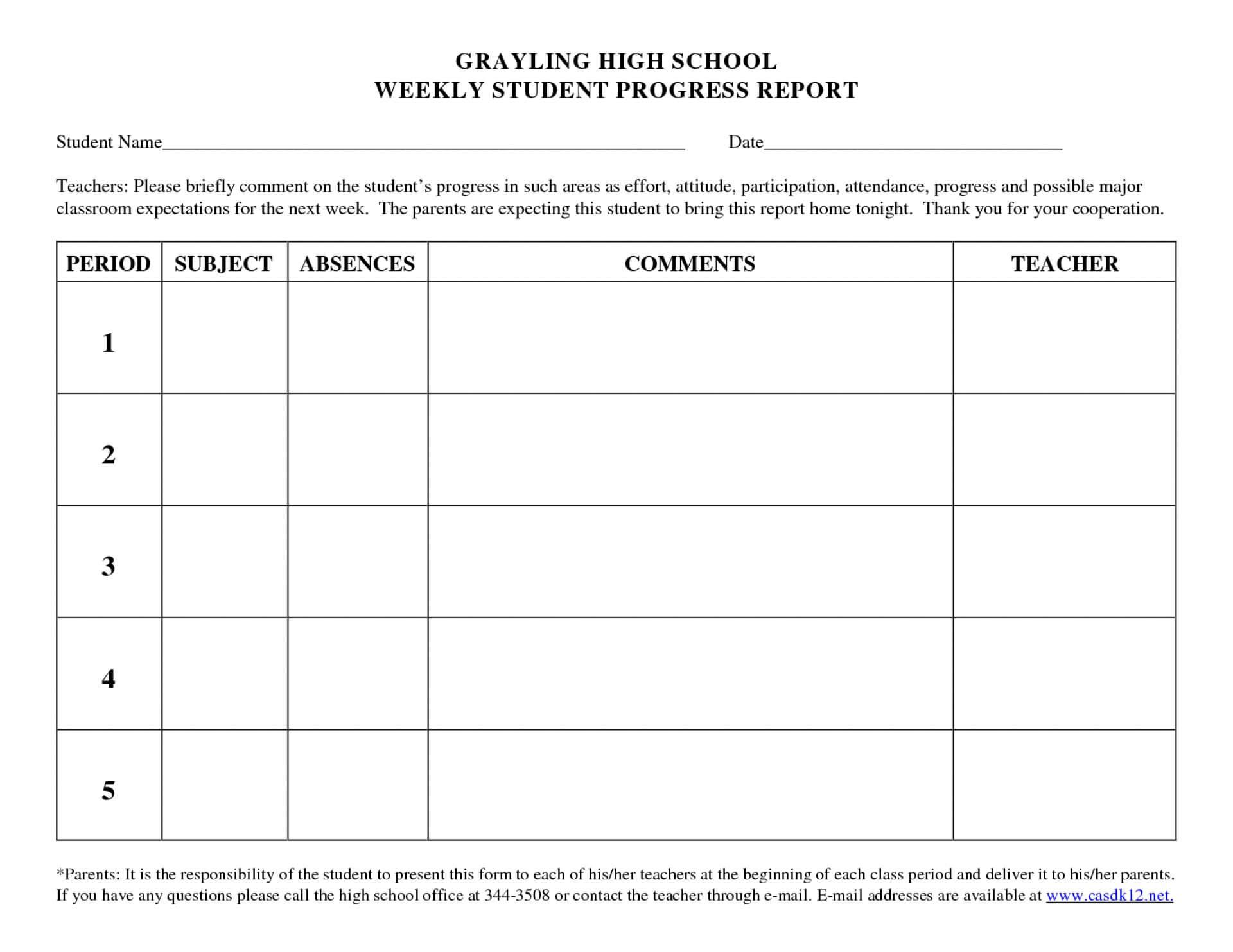 Beautiful Student Progress Report Template Ideas Doc Sample For High School Progress Report Template