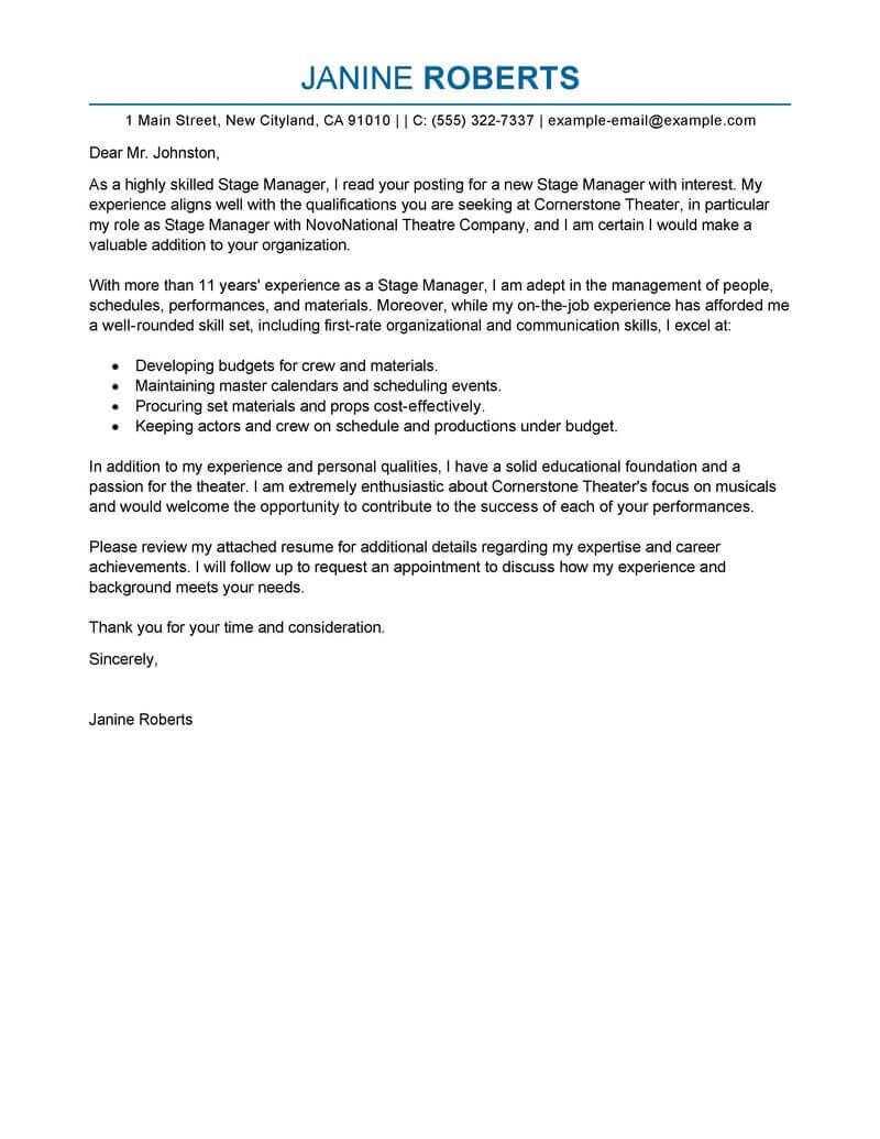 Best Supervisor Cover Letter Examples | Livecareer Regarding Letter Of Interest Template Microsoft Word