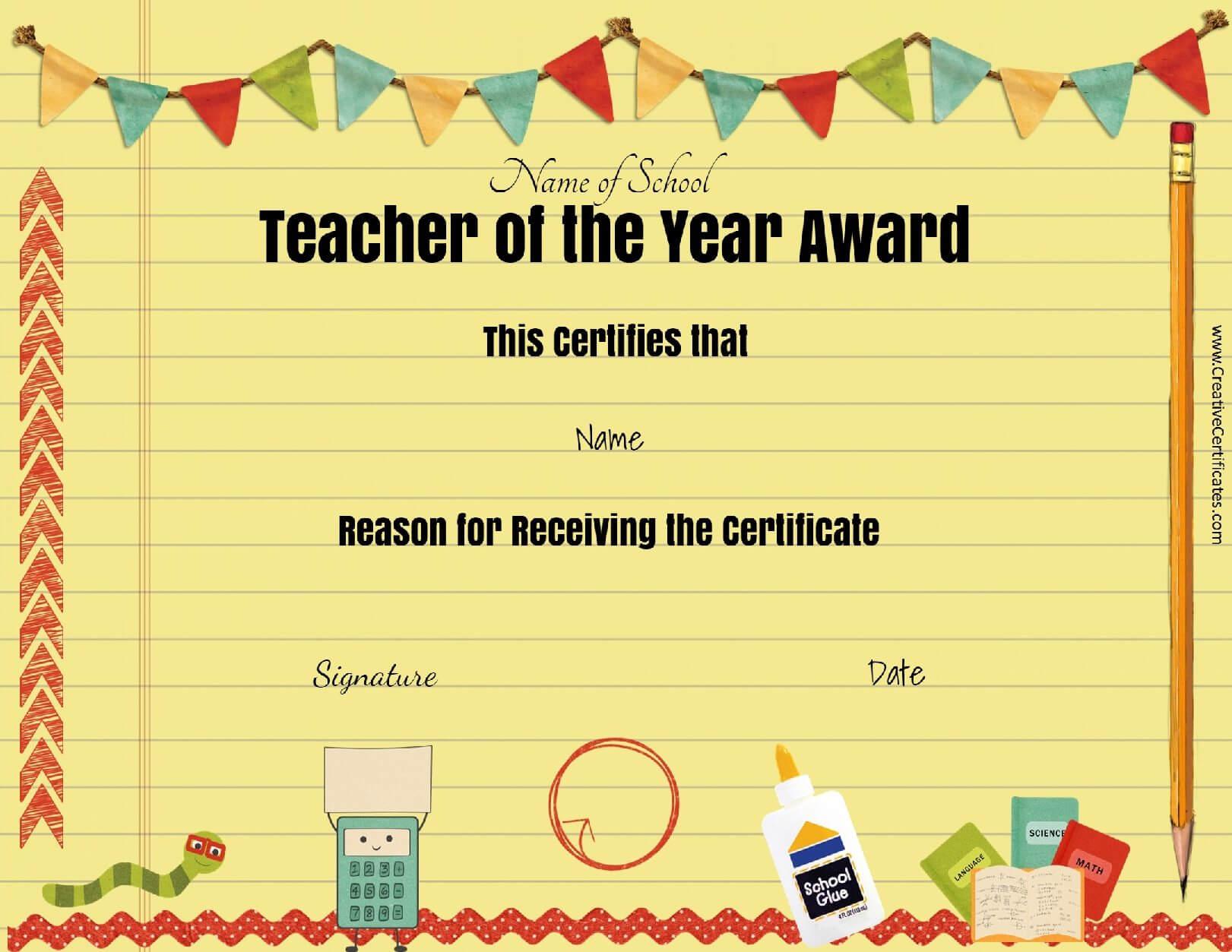 Best Teacher Award Clipart Intended For Teacher Of The Month Certificate Template