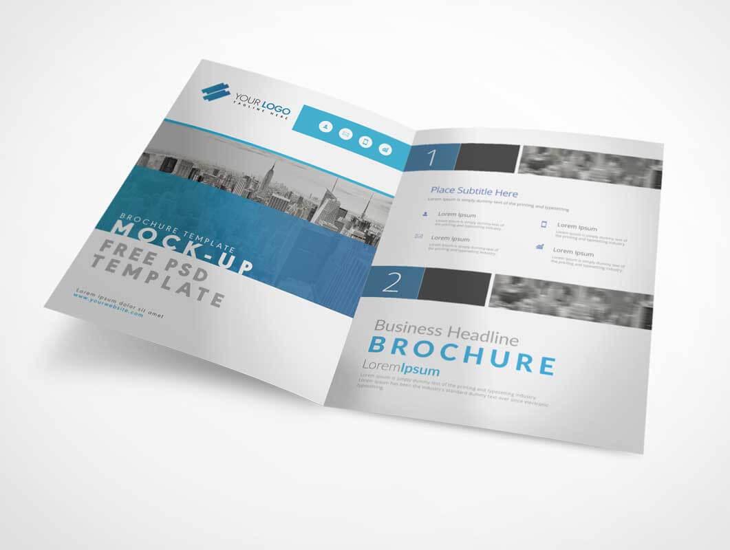 Bi Fold A4 Brochure Left & Right Panels Psd Mockup - Psd Mockups In Two Fold Brochure Template Psd