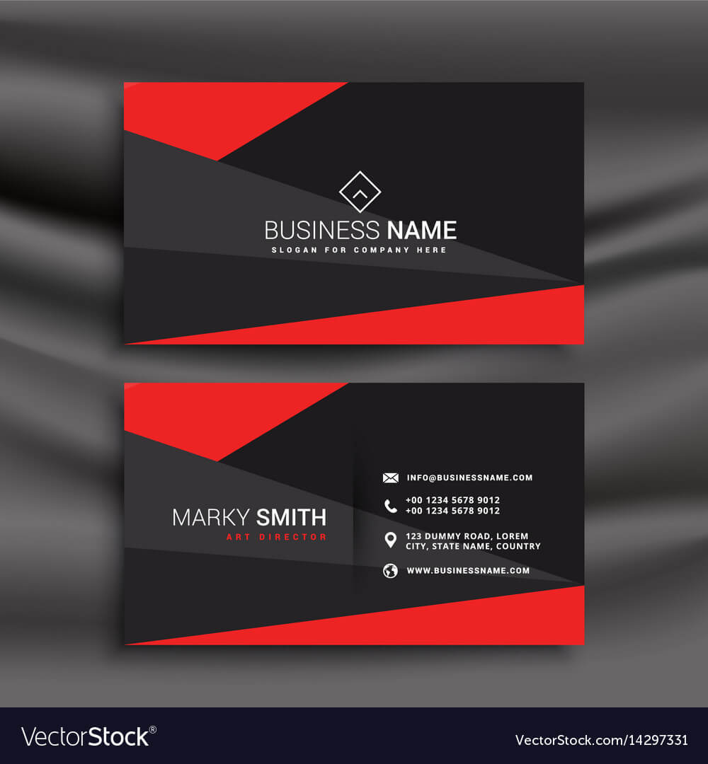 Black And Red Business Card Template With With Buisness Card Template