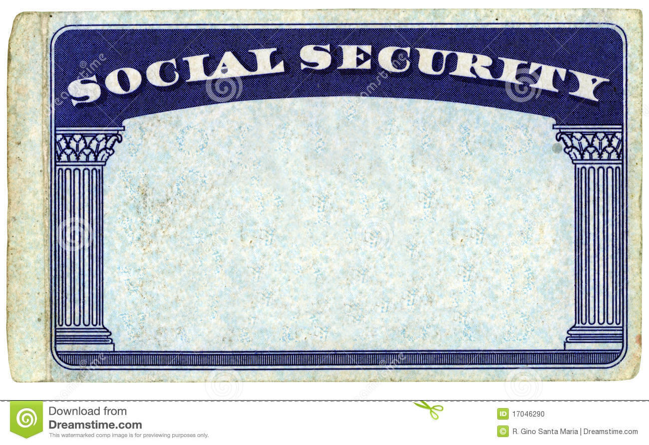 Blank American Social Security Card Stock Photo - Image Of Throughout Ssn Card Template