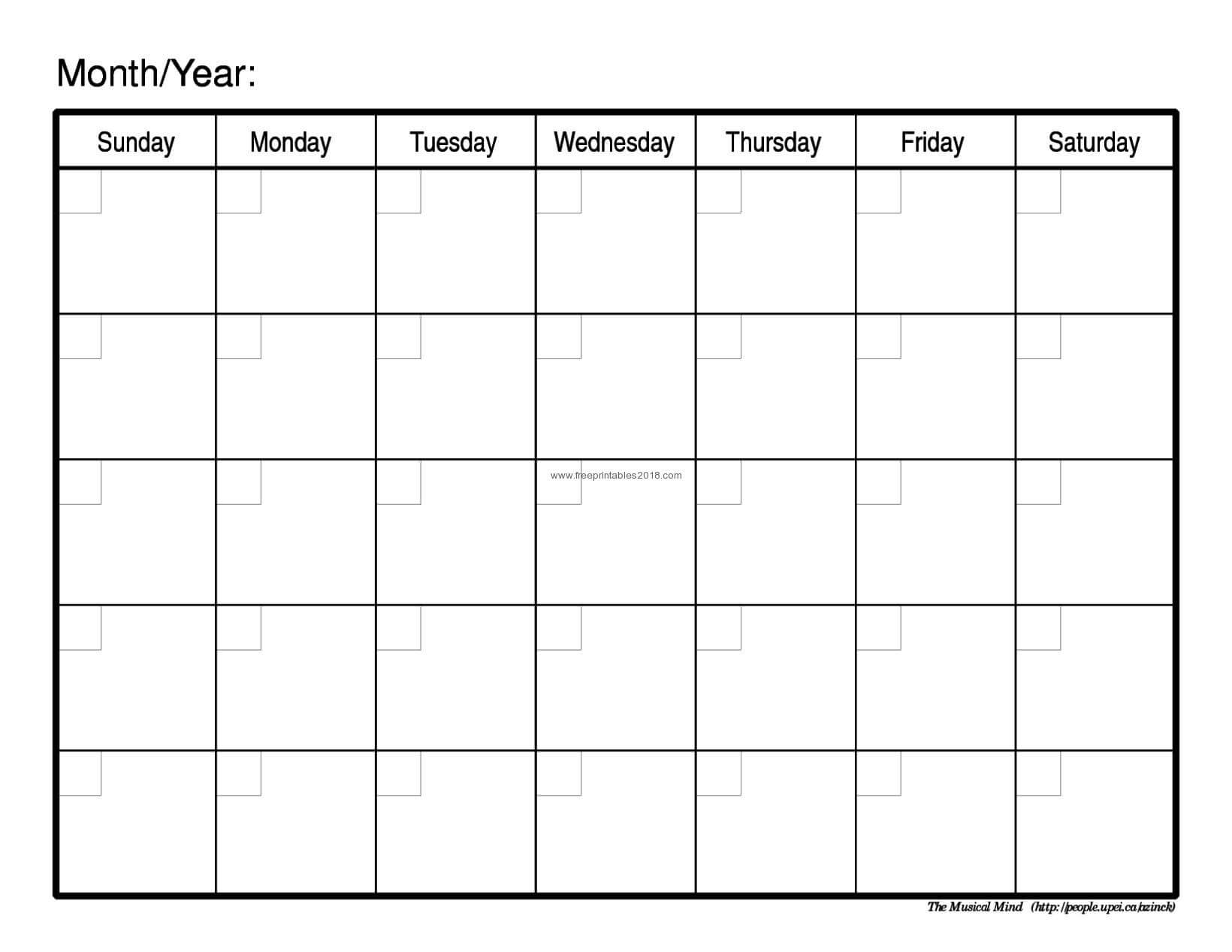 Blank Calendar Template - Zohre.horizonconsulting.co Intended For Blank Calender Template