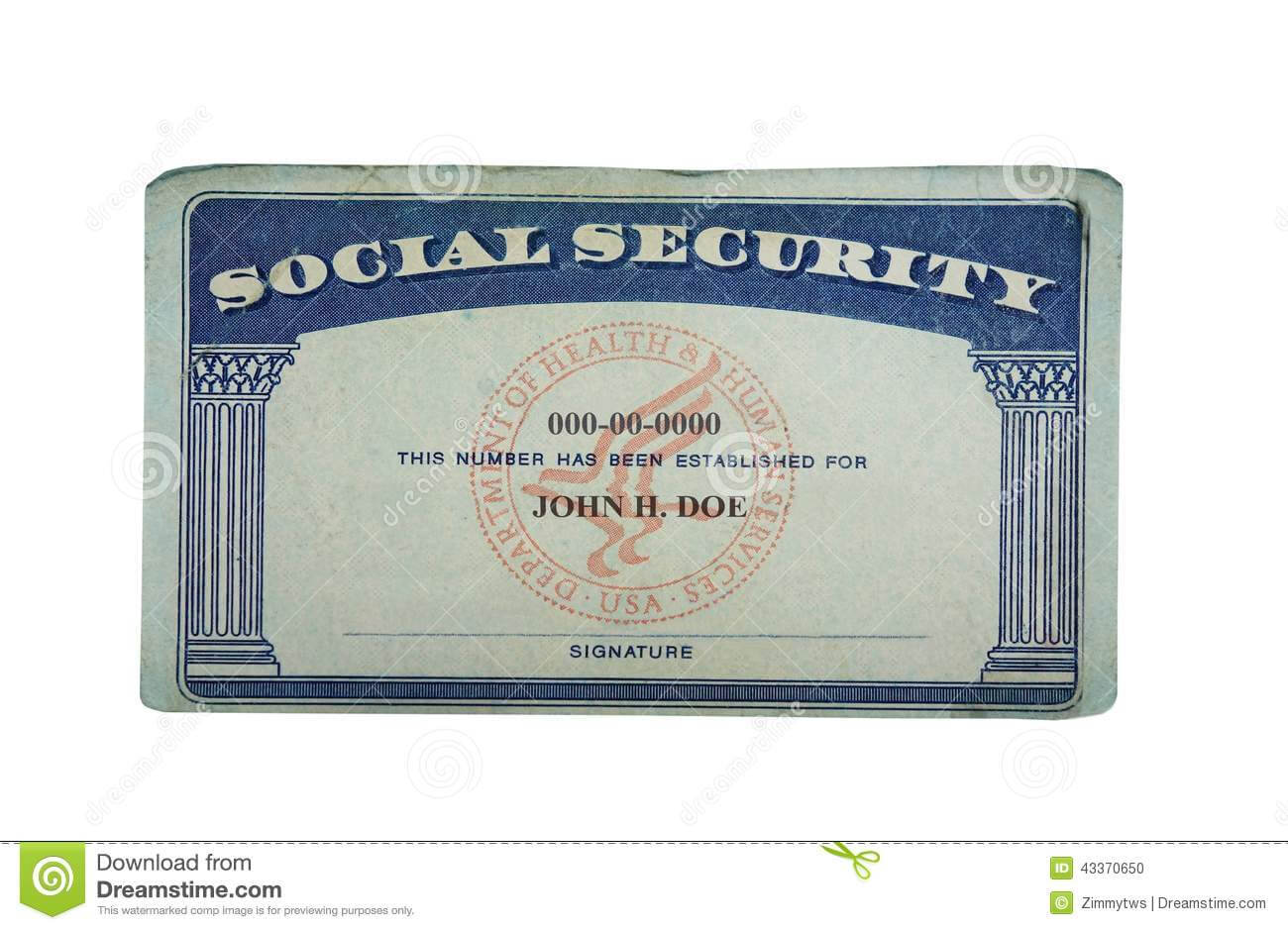 Blank Card Stock Photo. Image Of Paper, Social, Security For Social Security Card Template Download