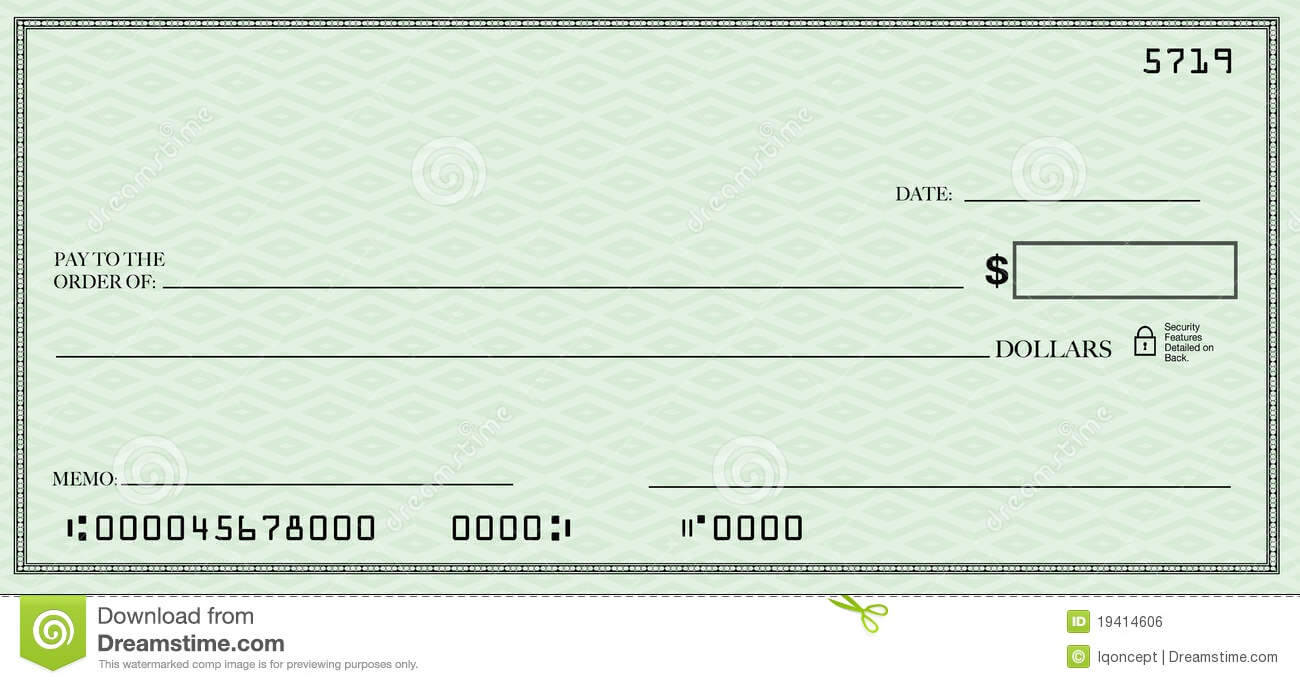 Blank Check With Open Space For Your Text Stock Illustration Throughout Large Blank Cheque Template