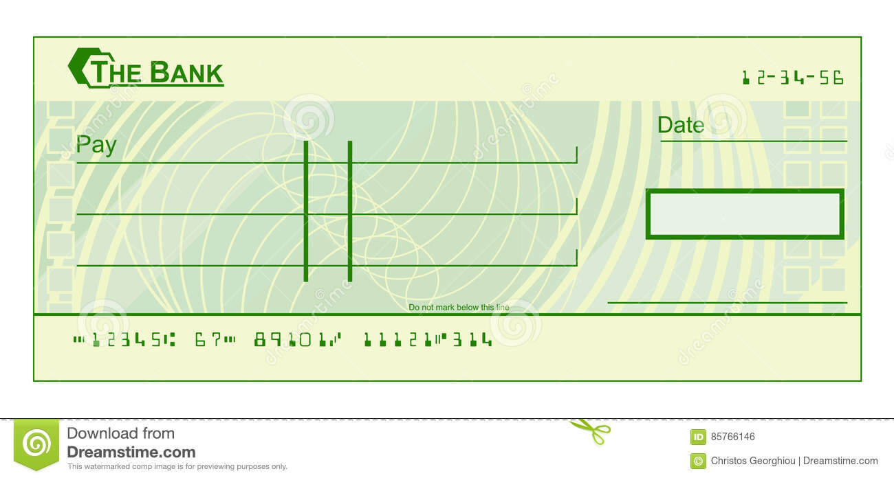 Blank Cheque Stock Vector. Illustration Of Document, Cheque Throughout Blank Cheque Template Download Free