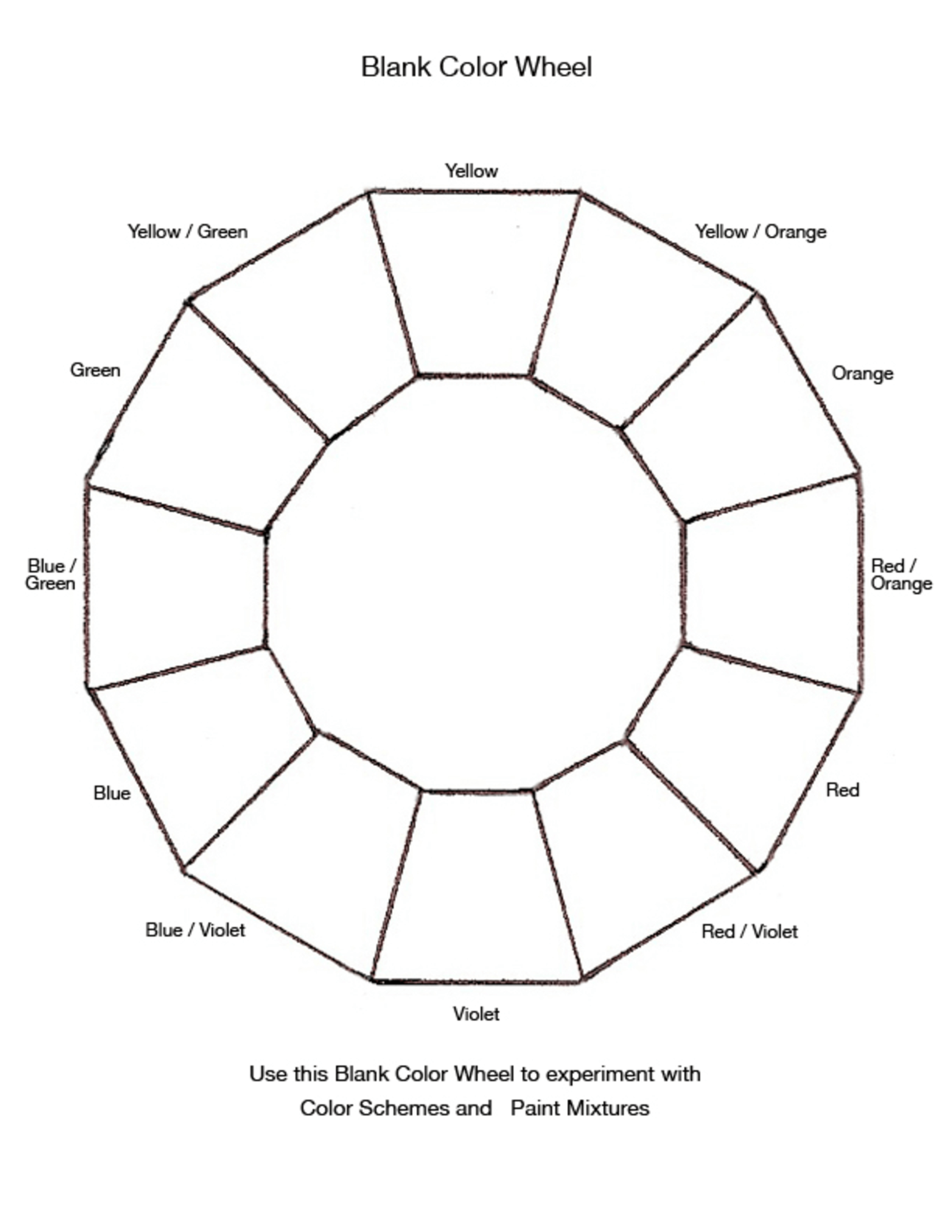 Blank Color Wheel Chart | Templates At Allbusinesstemplates With Blank Color Wheel Template