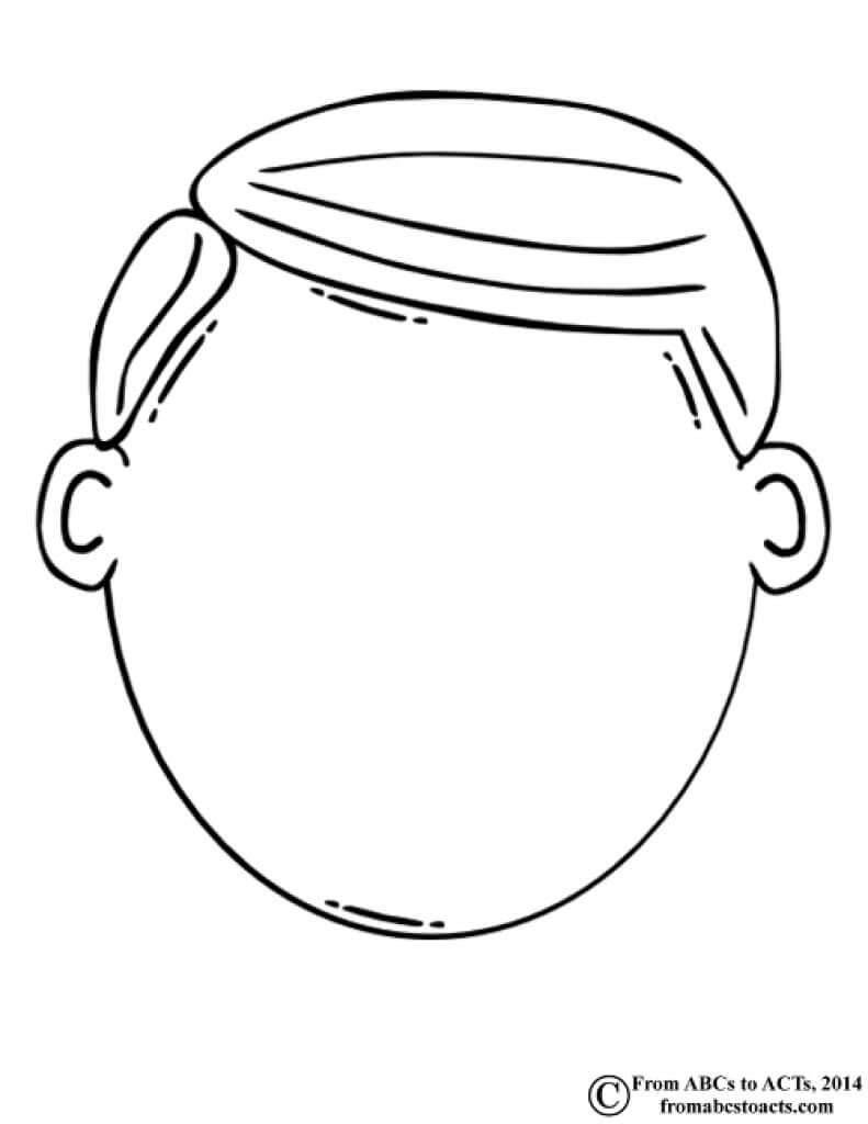 Blank Face Clipart Black And White Inside Blank Face Template Preschool