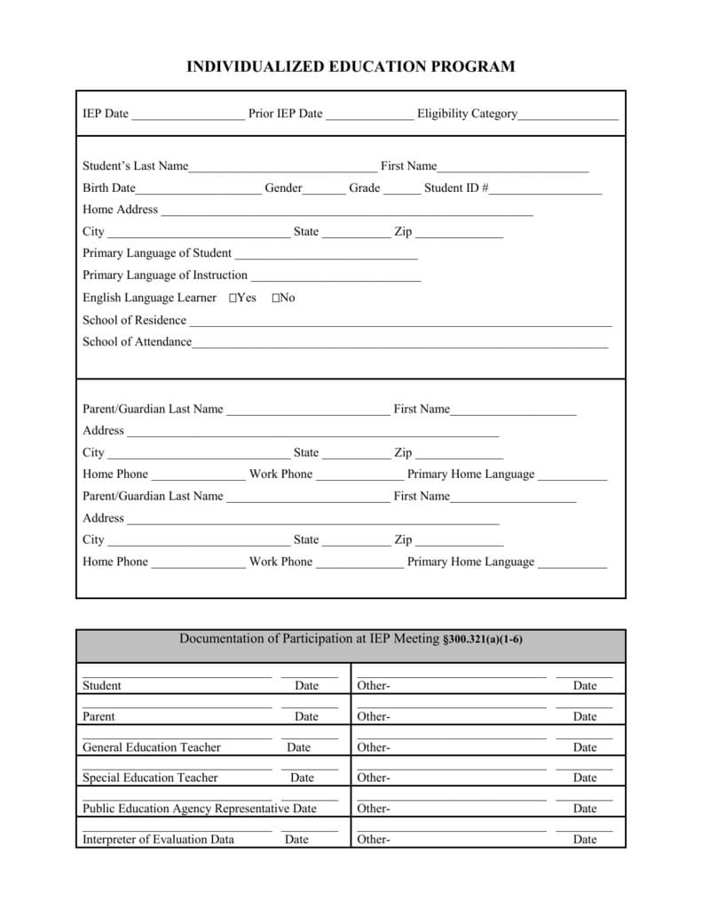 Blank Iep Form With Blank Iep Template