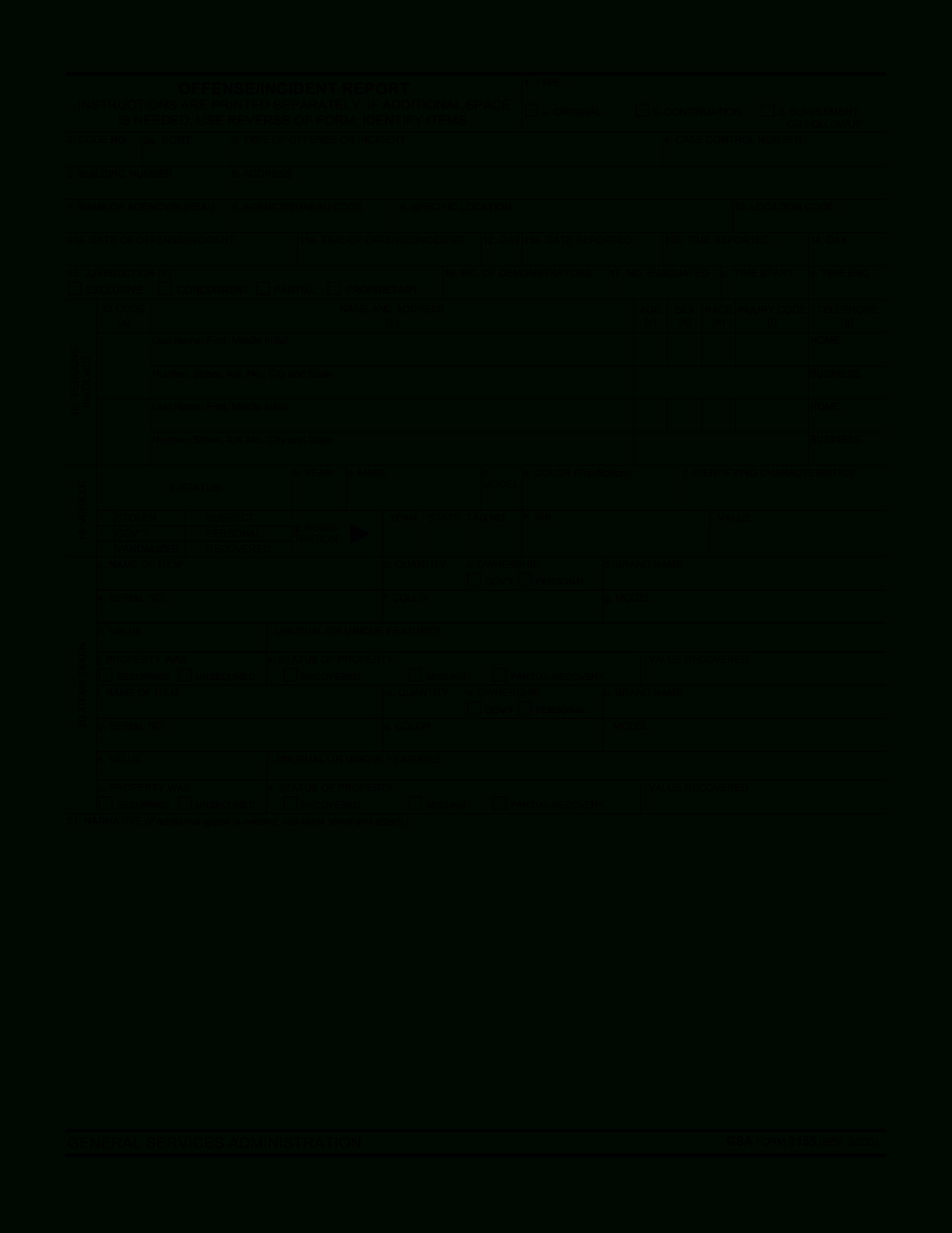 Blank Police Report Template | Templates At With Blank Police Report Template