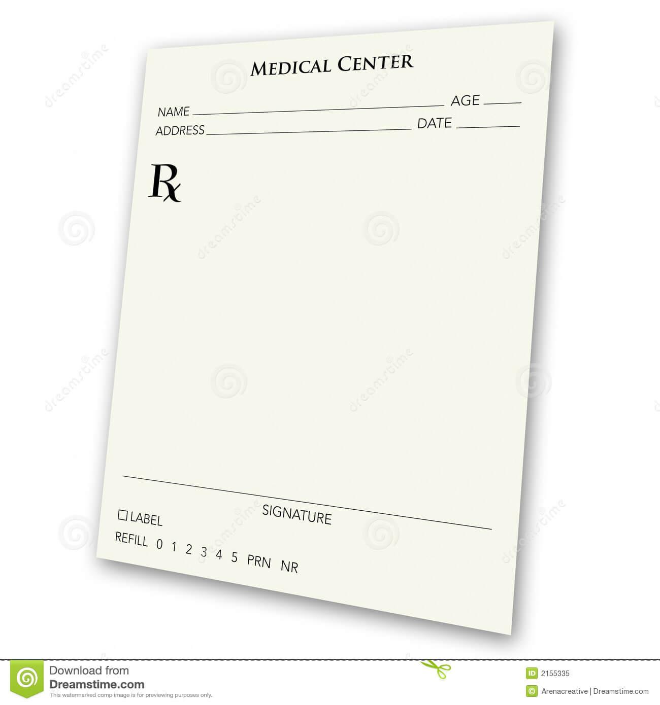 Blank Prescription Pad Stock Illustration. Illustration Of Regarding Blank Prescription Form Template