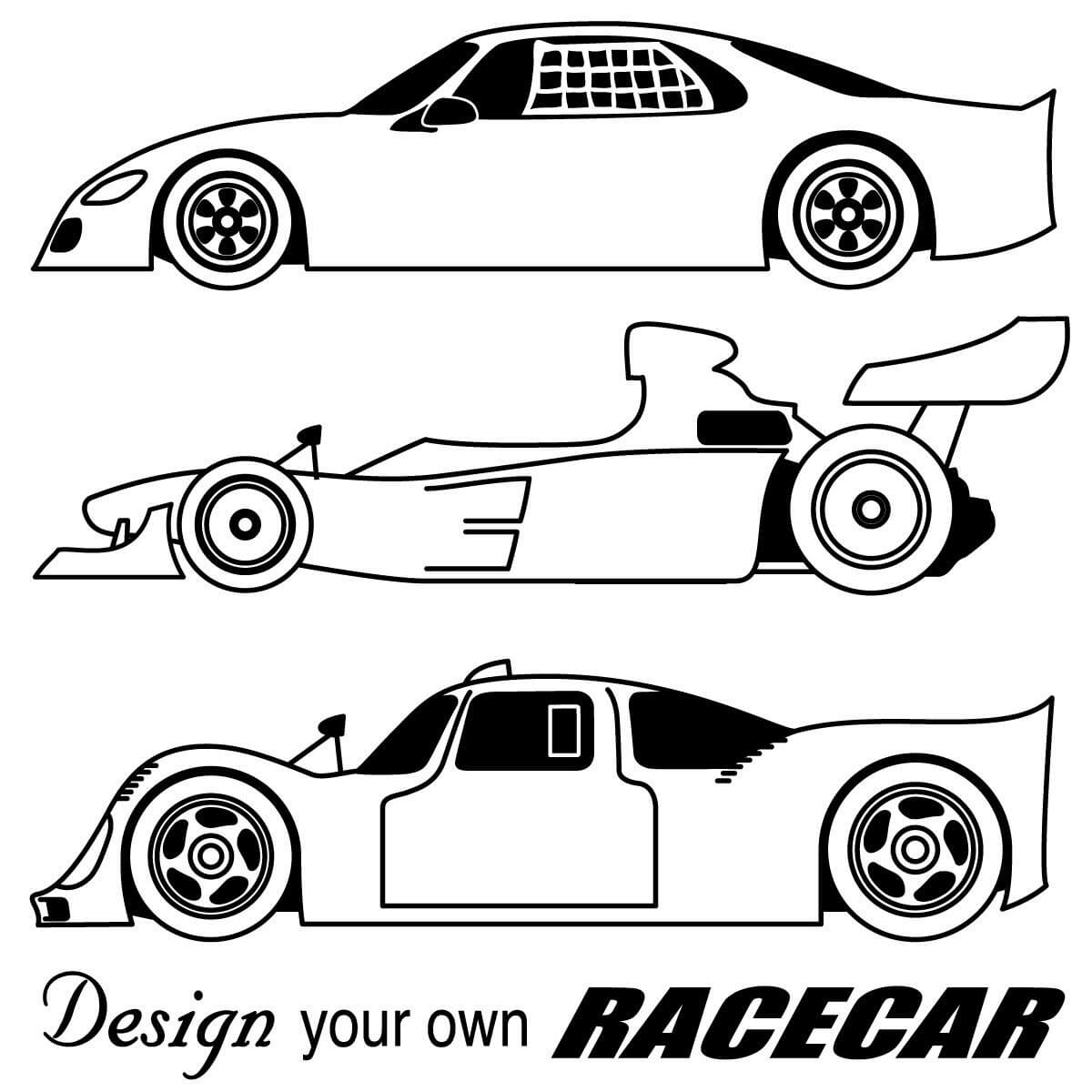Blank Race Car Coloring Pages Pertaining To Blank Race Car Templates
