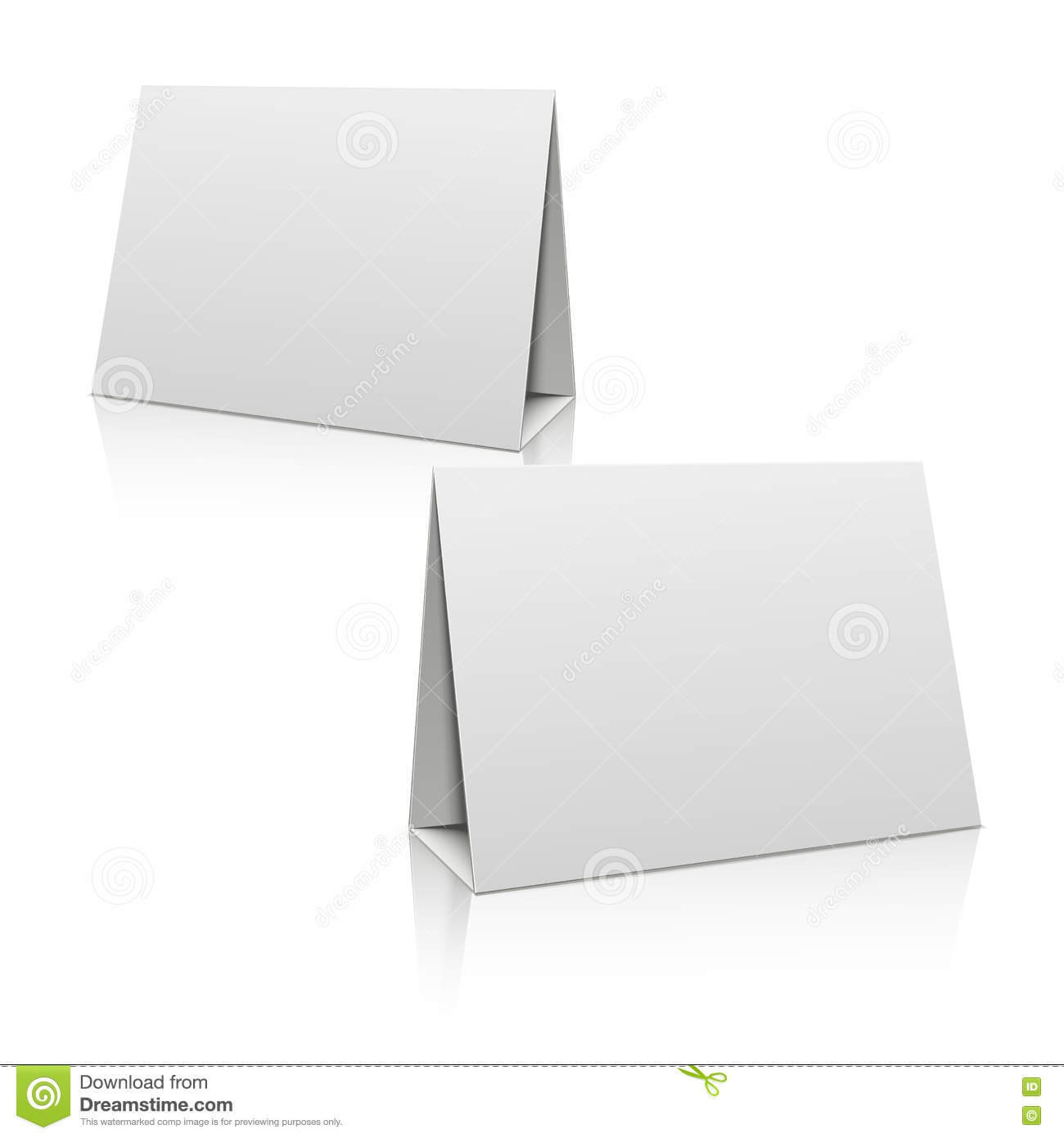 Blank White Paper Stand Table Holder Card. 3D Vector Design With Card Stand Template