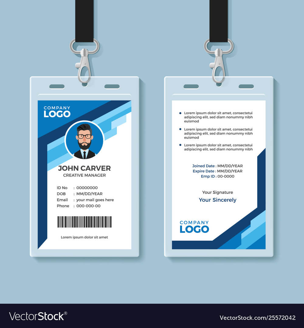 Blue Graphic Employee Id Card Template Pertaining To Template For Id Card Free Download