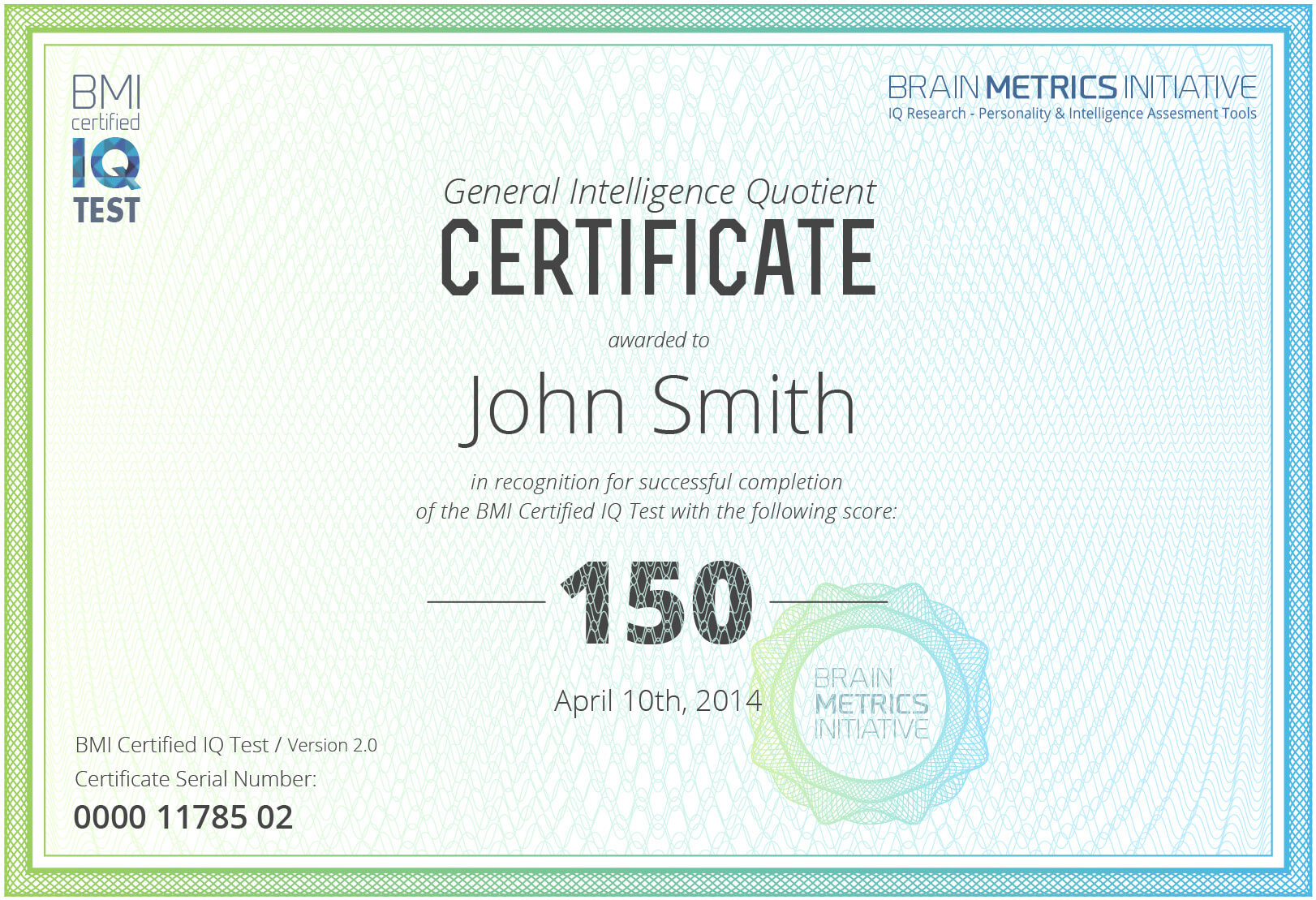 Bmi Certified Iq Test - Take The Most Accurate Online Iq Test! Intended For Iq Certificate Template