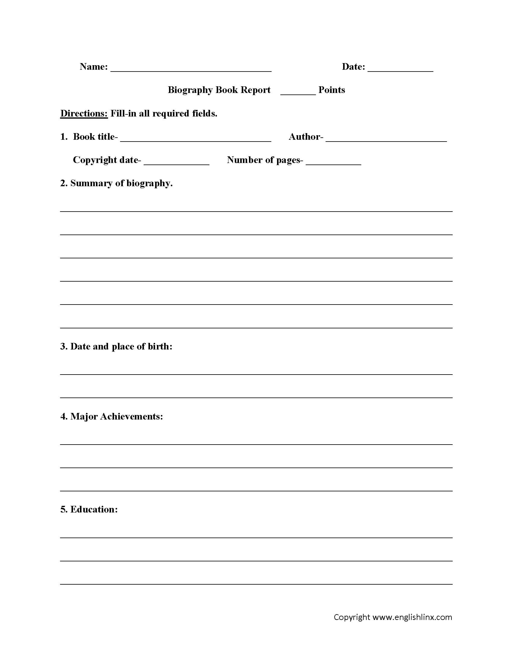 Book Report Worksheets | Biography Book Report Worksheets Intended For Biography Book Report Template