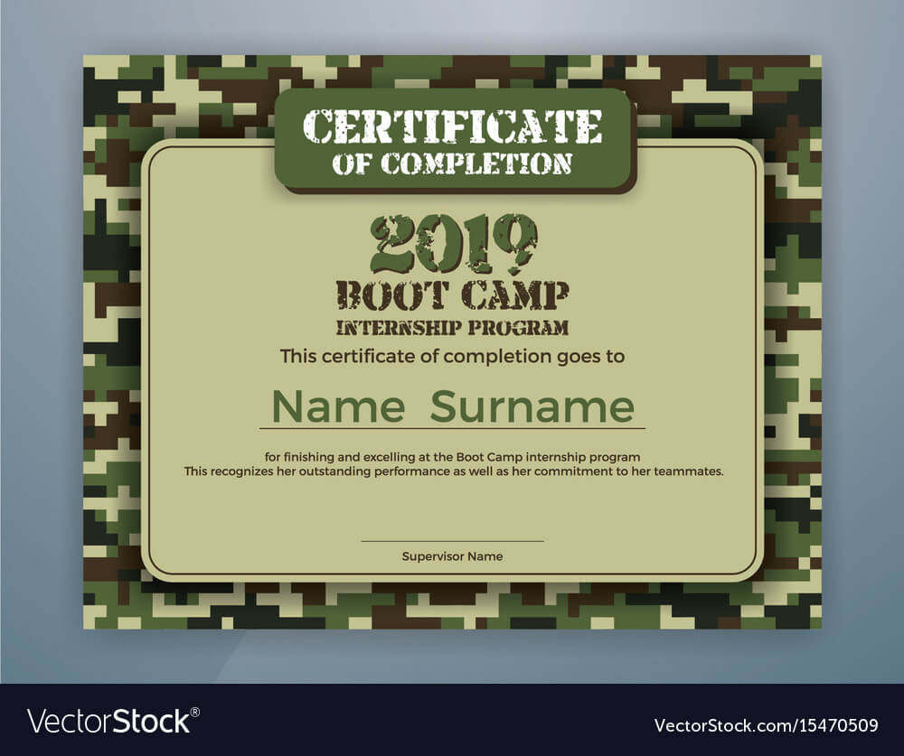 Boot Camp Internship Program Certificate Template Inside Boot Camp Certificate Template