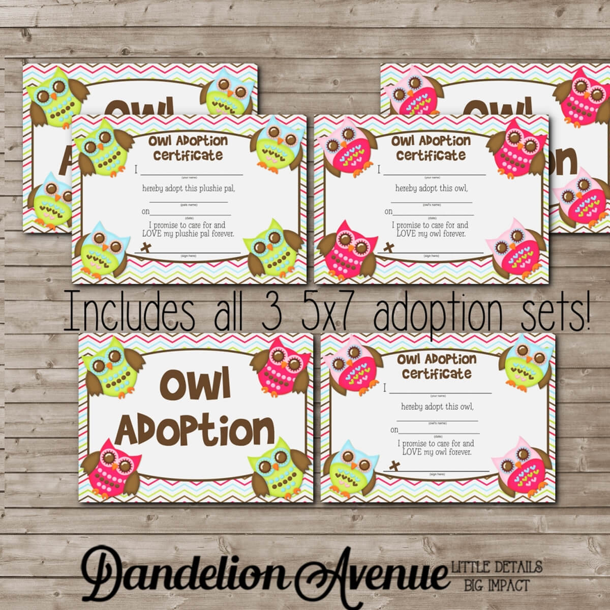 Bright Adopt An Owl Adoption Certificate And Sign Set With Regard To Toy Adoption Certificate Template