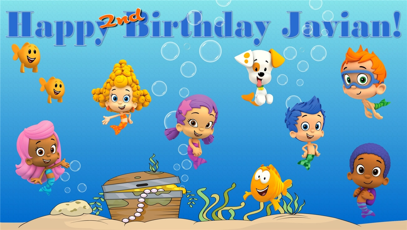 Bubble Guppies  Custom  Personalized Vinyl And 50 Similar Items Throughout Bubble Guppies Birthday Banner Template