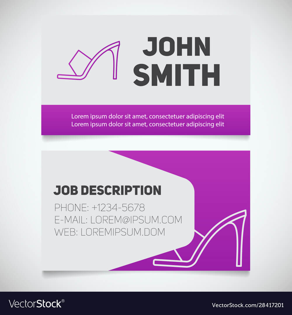 Business Card Print Template With High Heel Shoe Inside High Heel Template For Cards