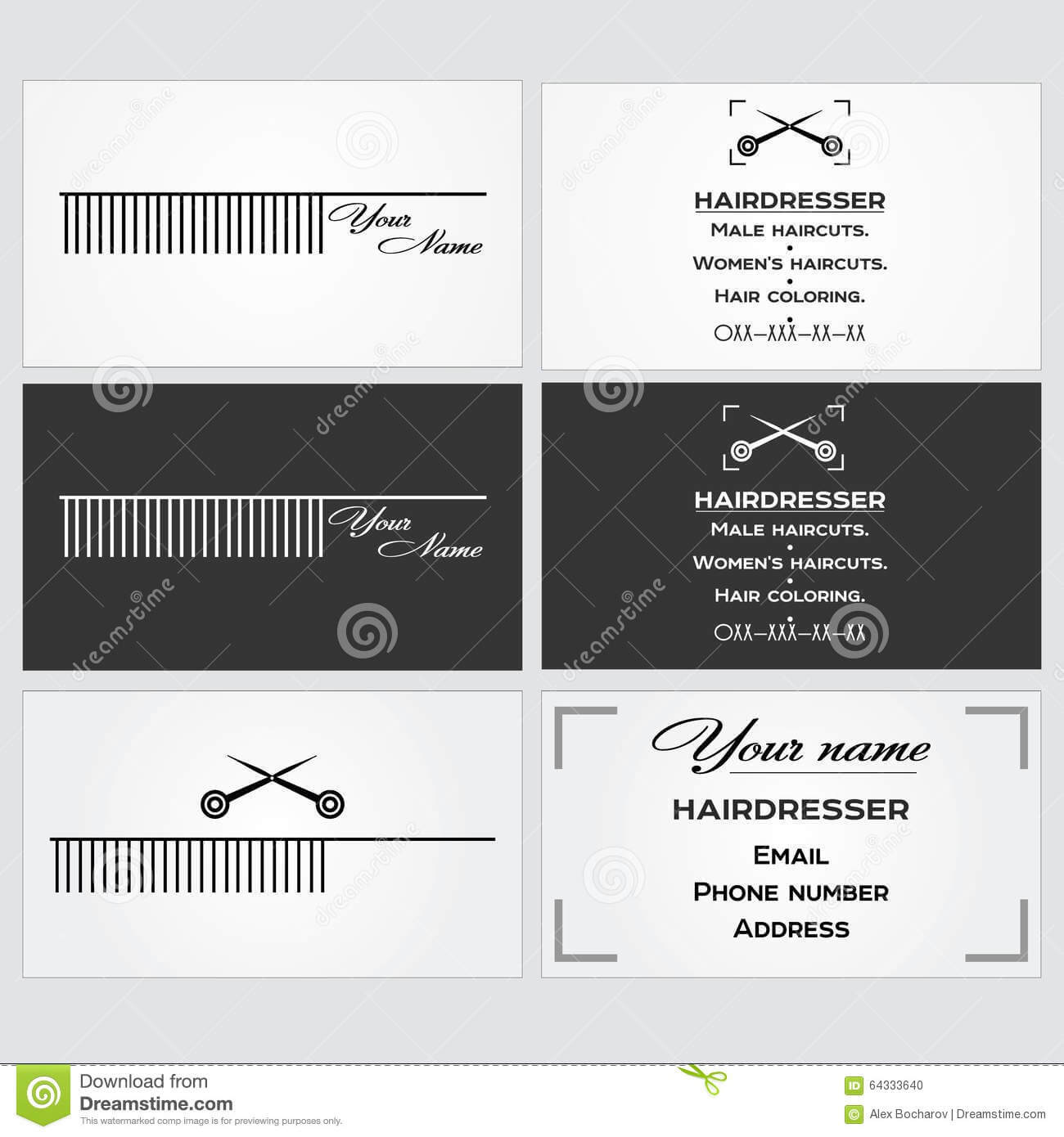 Business Card Template For A Hairdresser. Stock Vector Inside Hairdresser Business Card Templates Free