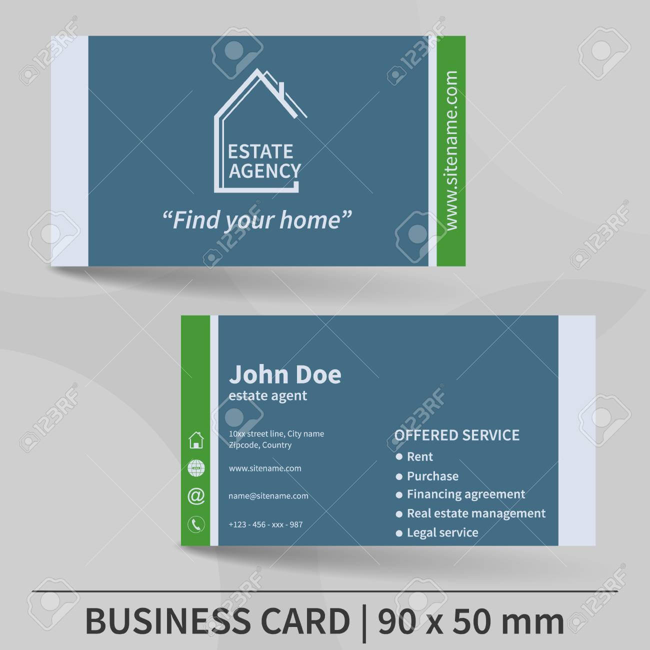 Business Card Template. Real Estate Agency. Design For Your Individual.. Inside Real Estate Agent Business Card Template