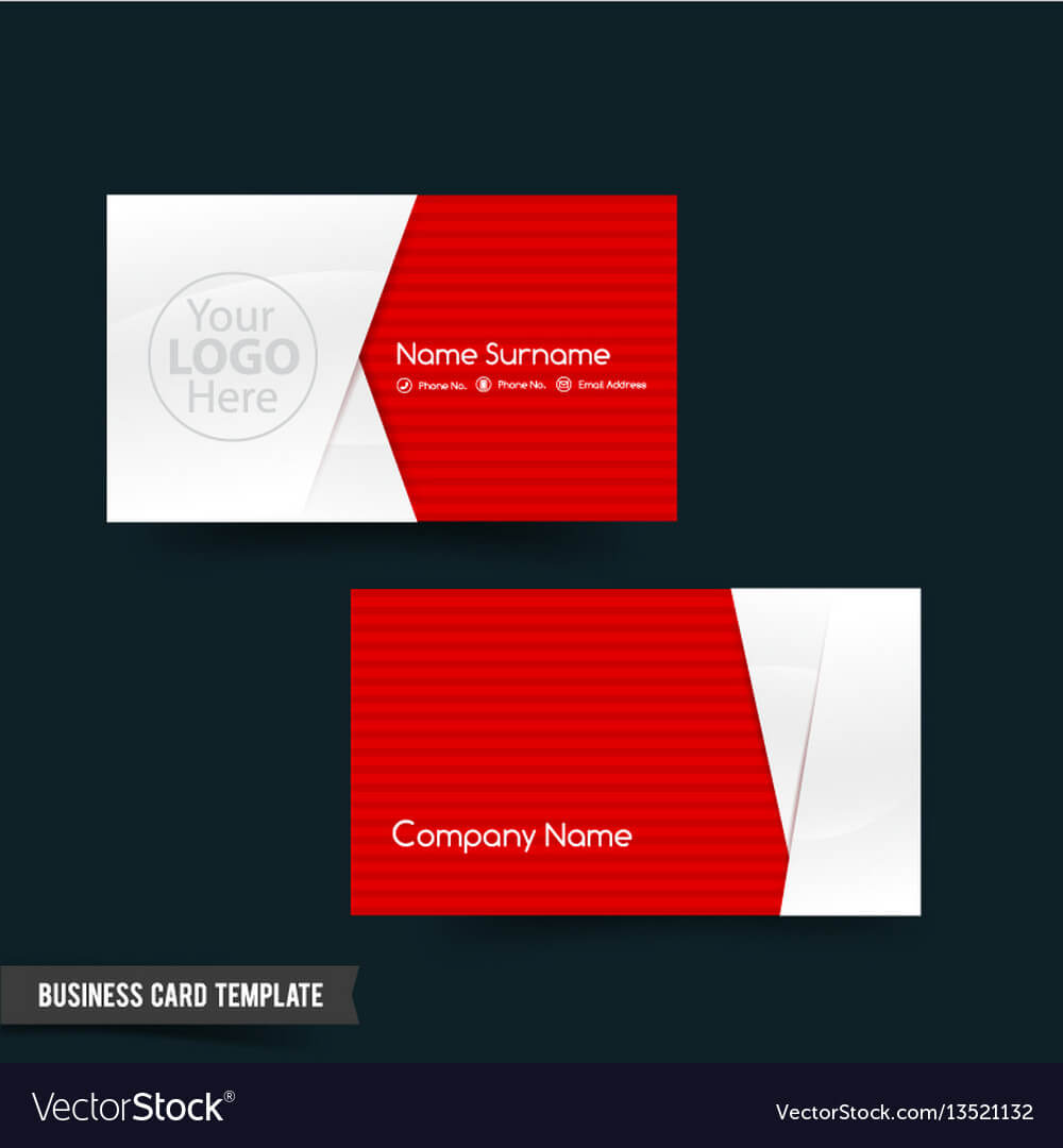 Business Card Template Set 64 Red And White Basic With Regard To Call Card Templates