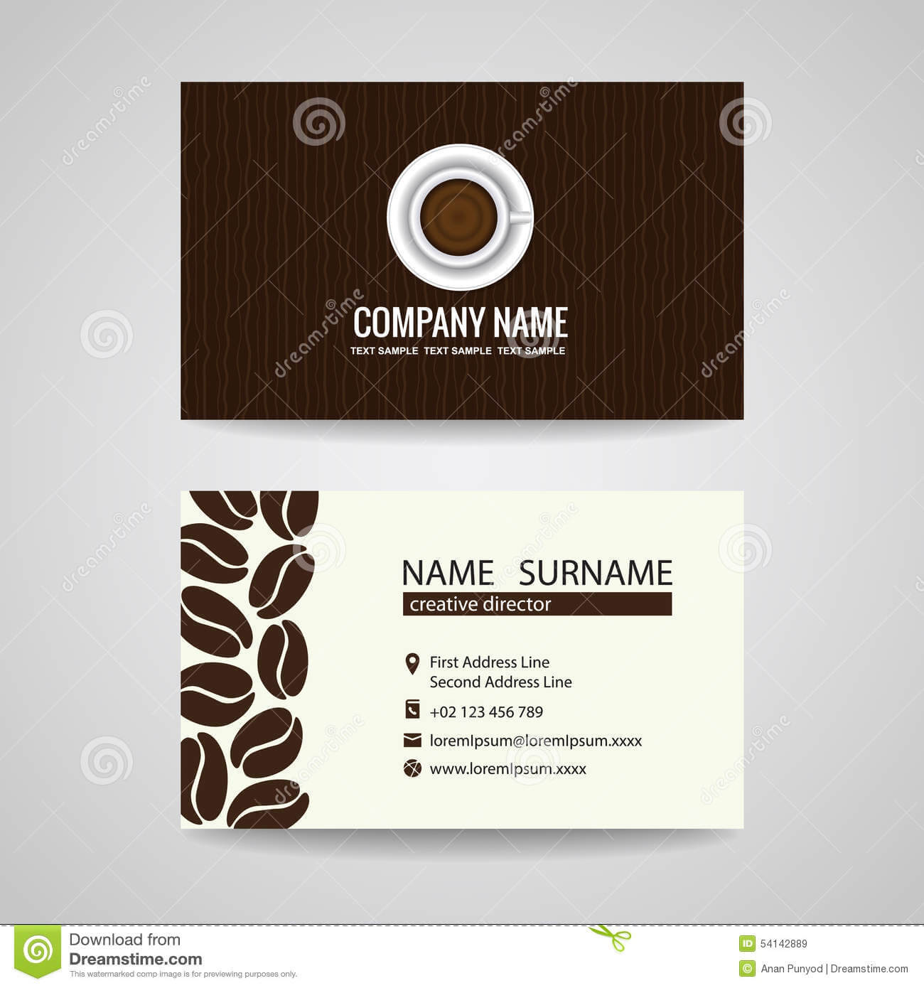 Business Card Vector Graphic Design , Coffee Cup And Coffee Regarding Coffee Business Card Template Free