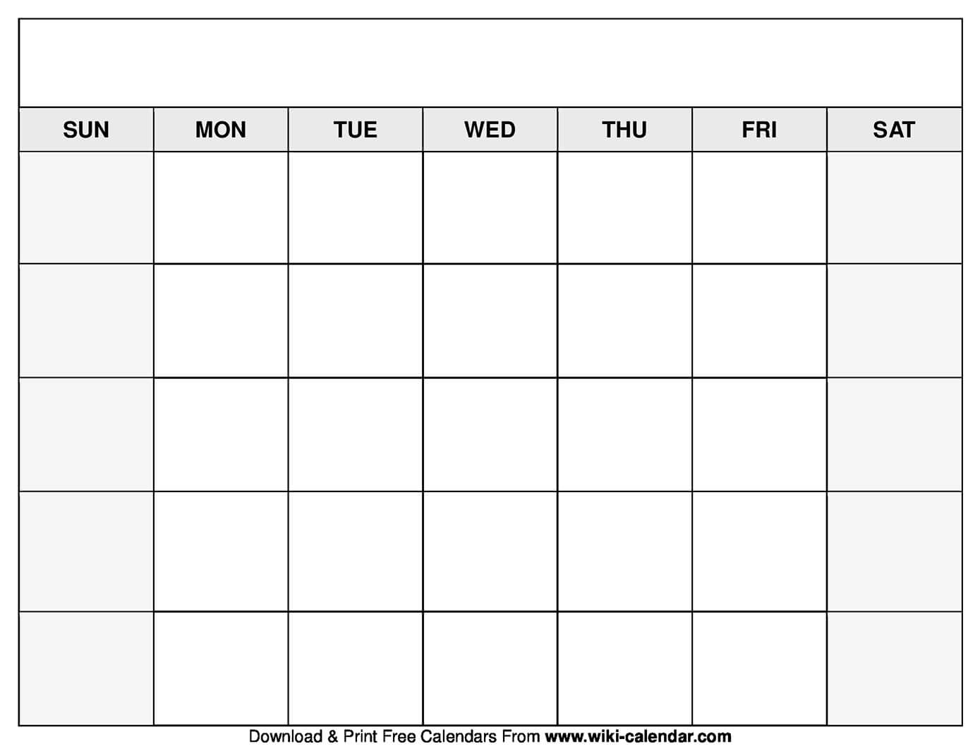 Calendar Templates To Print - Zohre.horizonconsulting.co With Regard To Blank Calender Template