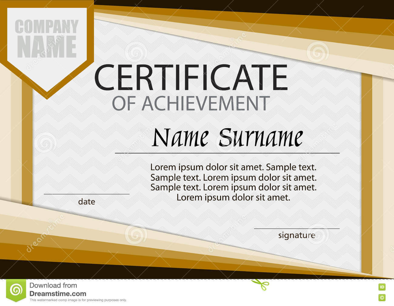 Certificate Of Achievement Template. Horizontal. Stock For Certificate Of Attainment Template