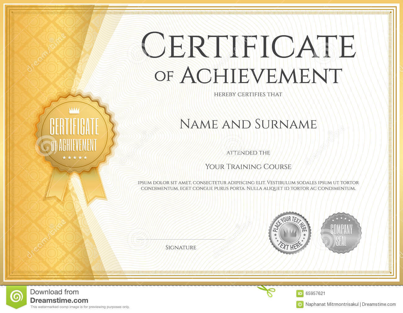Certificate Of Achievement Template In Vector Stock Vector With Regard To Certificate Of Accomplishment Template Free