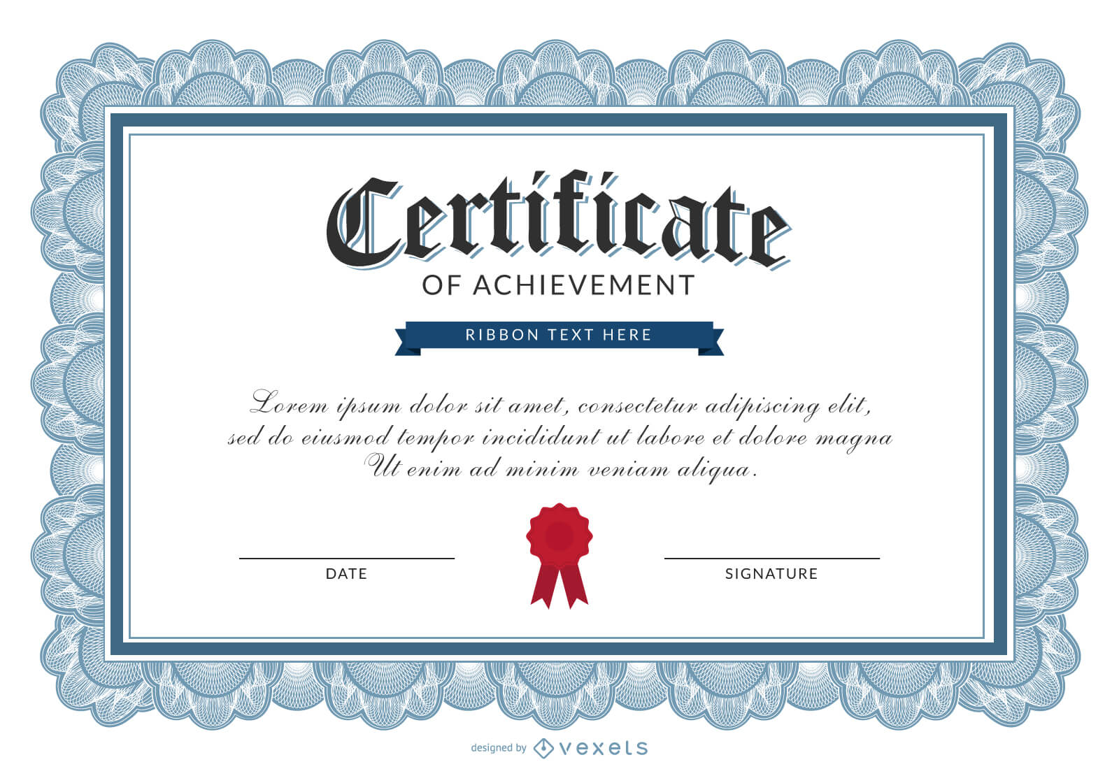 Certificate Of Achievement Template – Vector Download Within Certificate Of Accomplishment Template Free