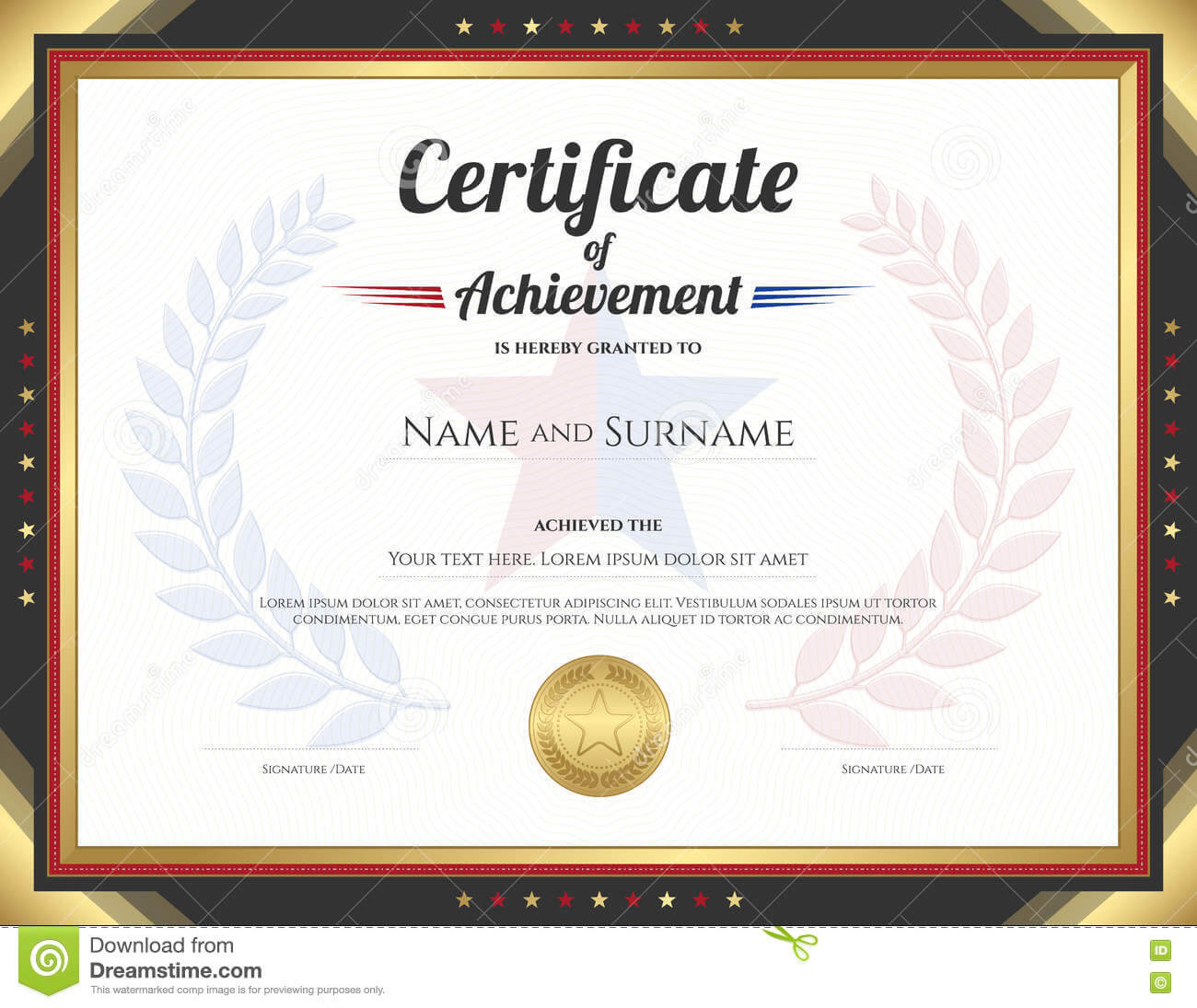 Certificate Of Achievement Template With Gold Border Theme Regarding Certificate Of Accomplishment Template Free