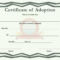 Certificate Of Adoption Template Throughout Pet Adoption Certificate Template