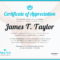 Certificate Of Appreciation Intended For Certificates Of Appreciation Template