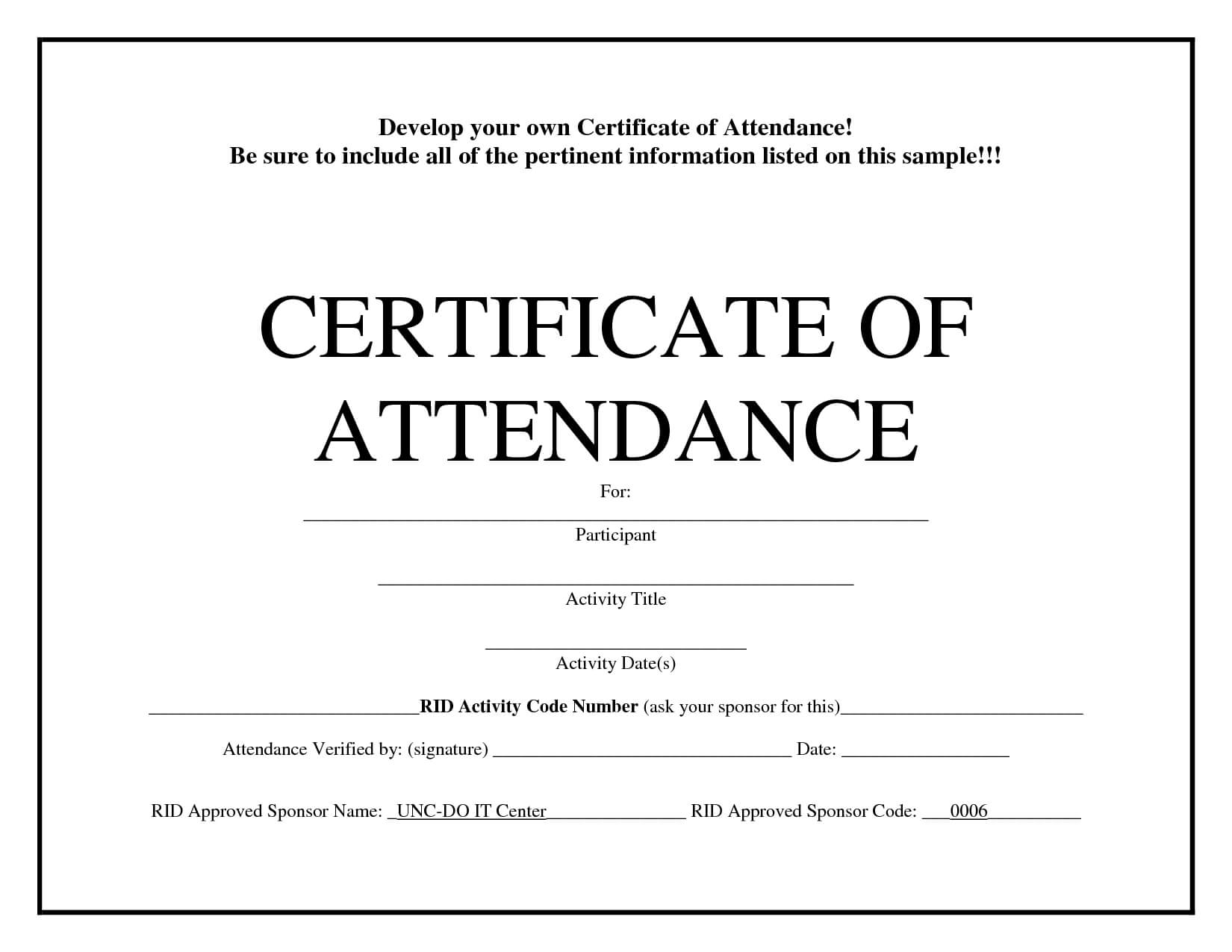 Certificate Of Attendance Template Word Free - Zohre Intended For Attendance Certificate Template Word