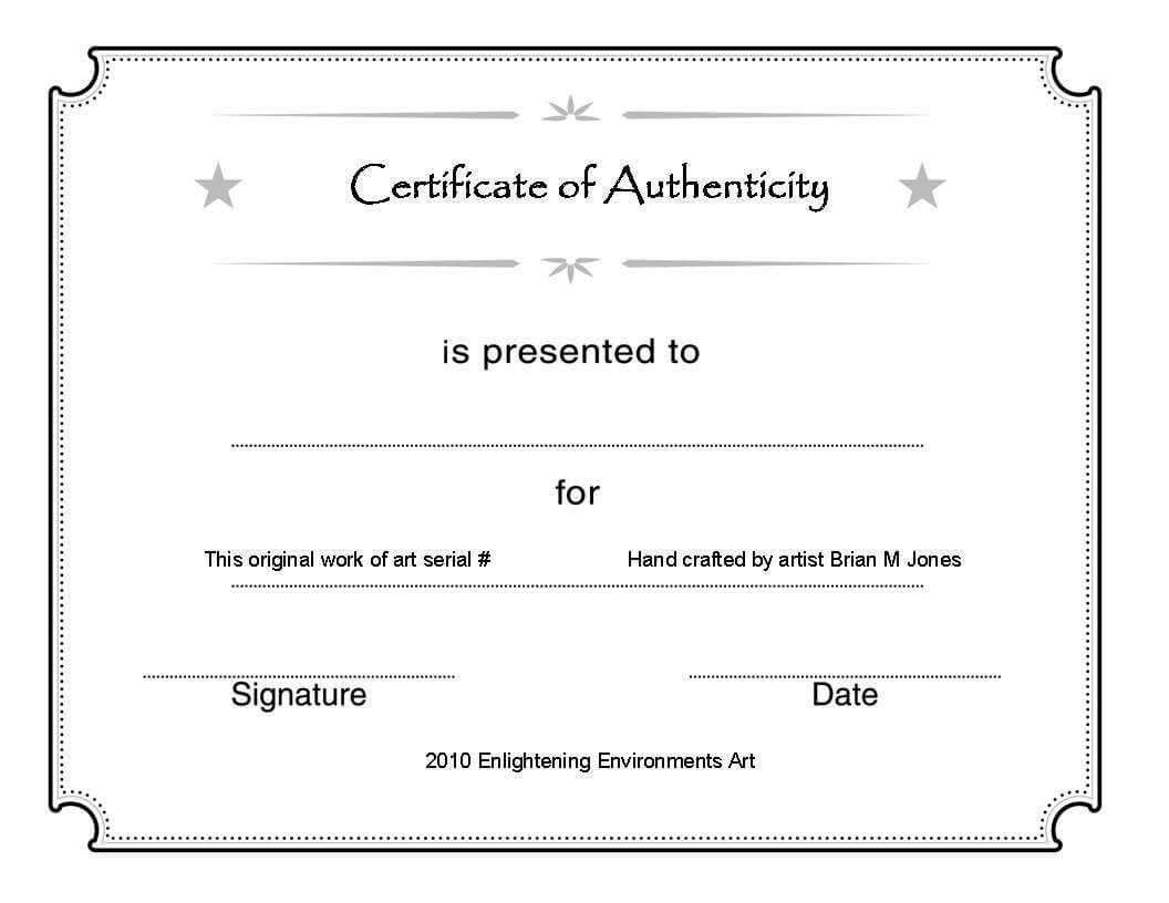 Certificate Of Authenticity Template Psd Word Artist Free Inside Photography Certificate Of Authenticity Template